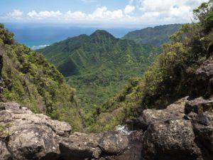 Summit view and small waterfall at Punaluu
