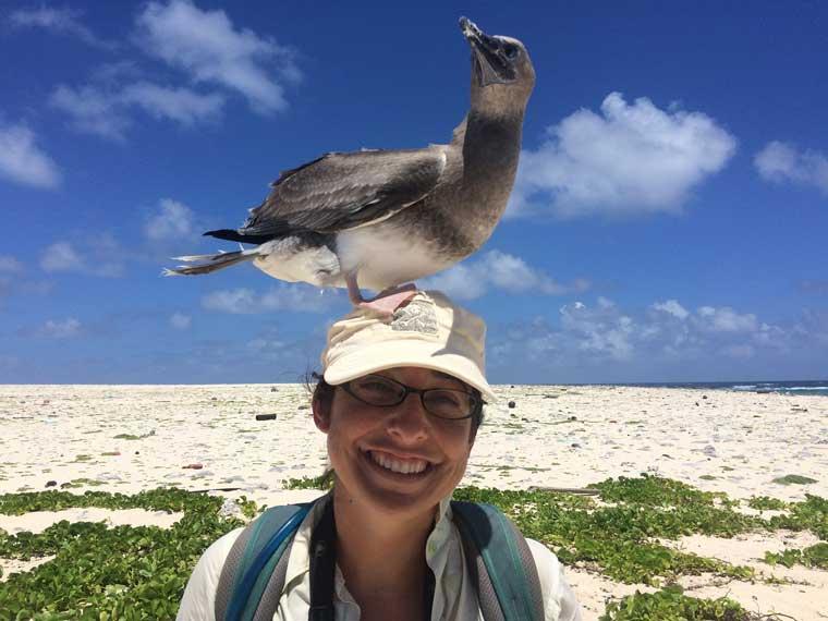 Angela Amlin woman on beach with seagull on her head
