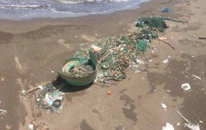 Marine debris washed ashore on Hawaii beach