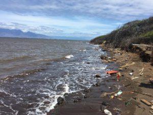 Marine debris Maui in background